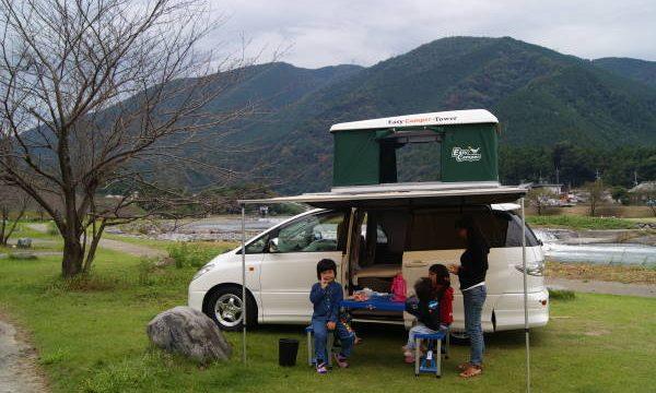 粕川でオートキャンプ