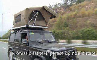 ルーフテントの風圧テスト