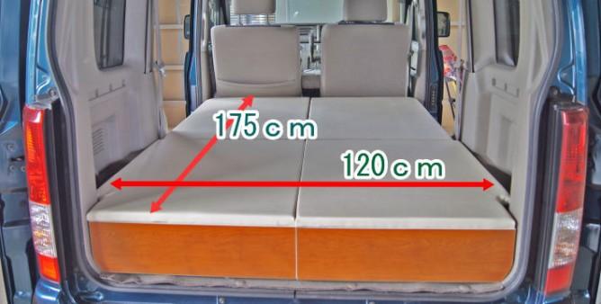 軽キャンピングカーのベッドサイズ